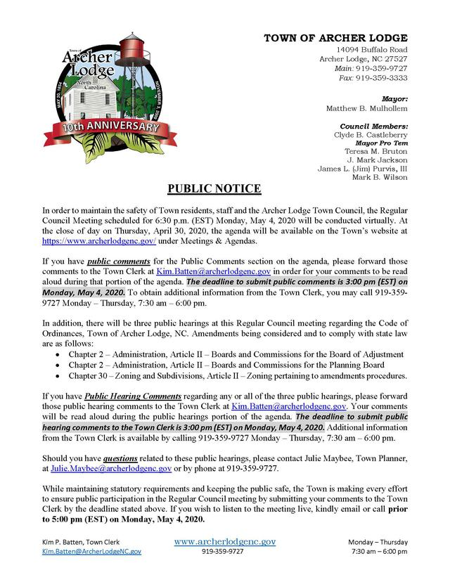 PUBLIC NOTICE - COVID 19 - VIRTUAL REGULAR COUNCIL MEETING - MONDAY MAY 4 2020.jpg