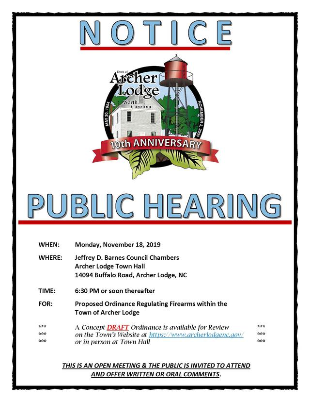 Public Hearing Notice 11.18.19 for Website and Social Media Proposed Ordinance Regulating Firearms within the Town.jpg
