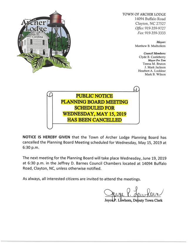 Planning Board Pubkic Notice of Cancellation - 5-19-19.jpg