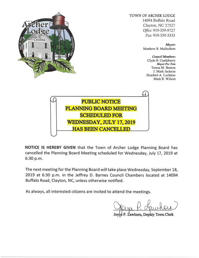 Planning Board Public Notice of Cancellation - 7-17-19.jpg