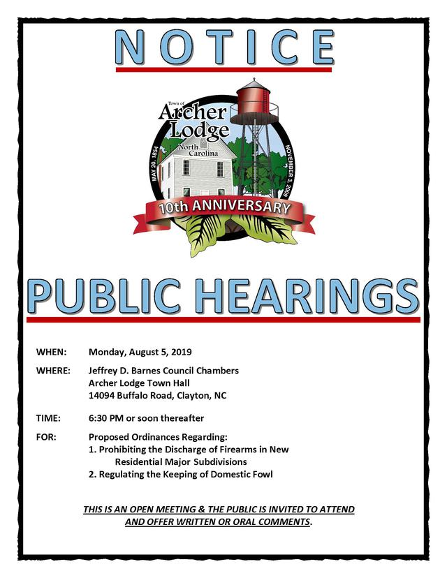 Town of Archer Lodge, North Carolina - Public Hearings
